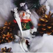 Детская серебряная ложка чайная «Снеговик»